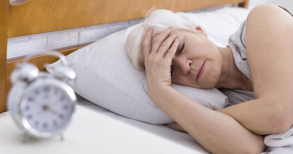 Elderly woan ssuffering from insomnia